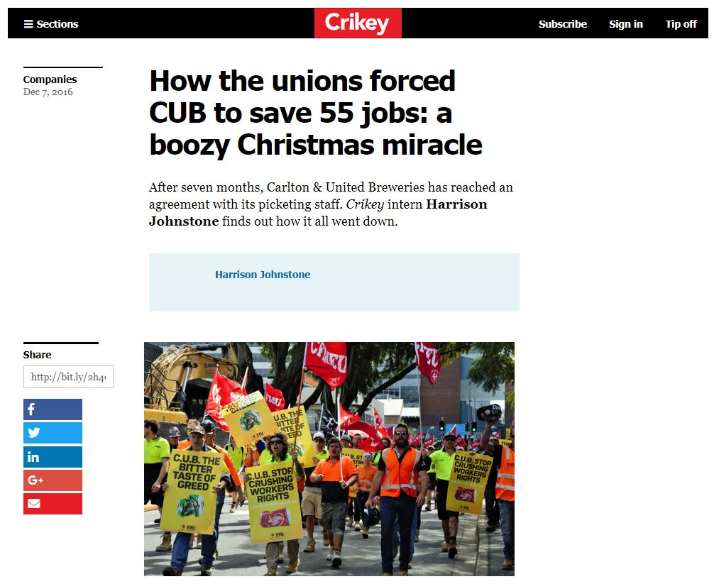 How the unions forced CUB to save 55 jobs: a boozy Christmas miracle ...
